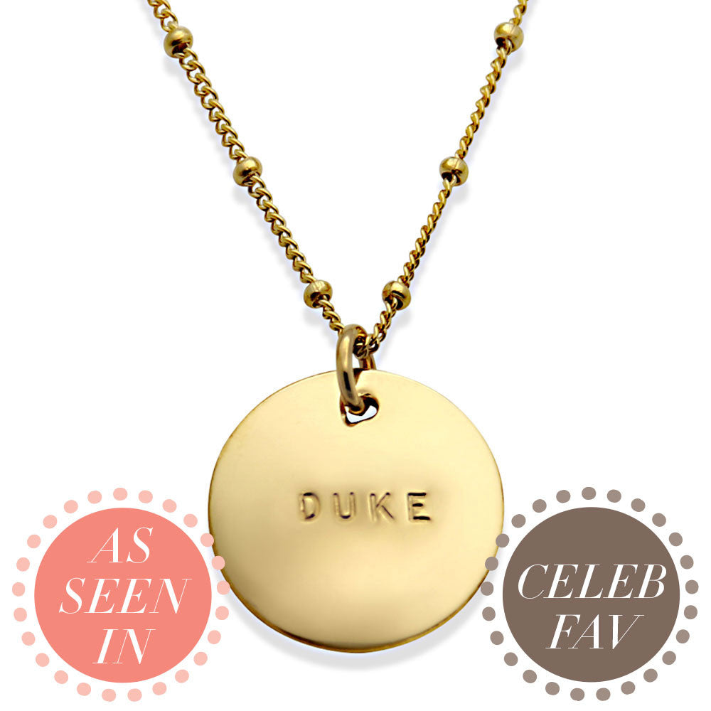 celebrity jewelry, hand stamped gold personalized name necklace, jenny present®