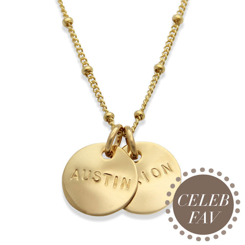 Gold Hand Stamped Celebrity Mom Necklace, Celebrity Jewelry Favorites, Proud Mama®, jenny present®