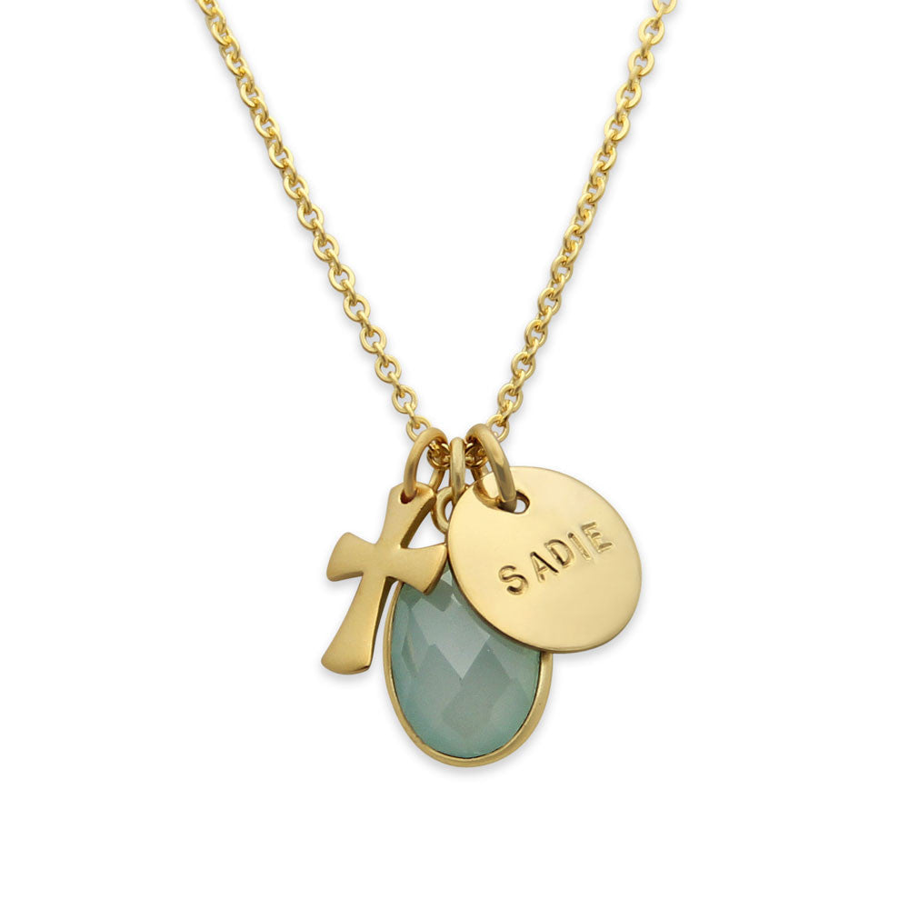 Gold Cross Charm Necklace with Birthstone, Hand Stamped Gold Jewelry, Proud Mama®