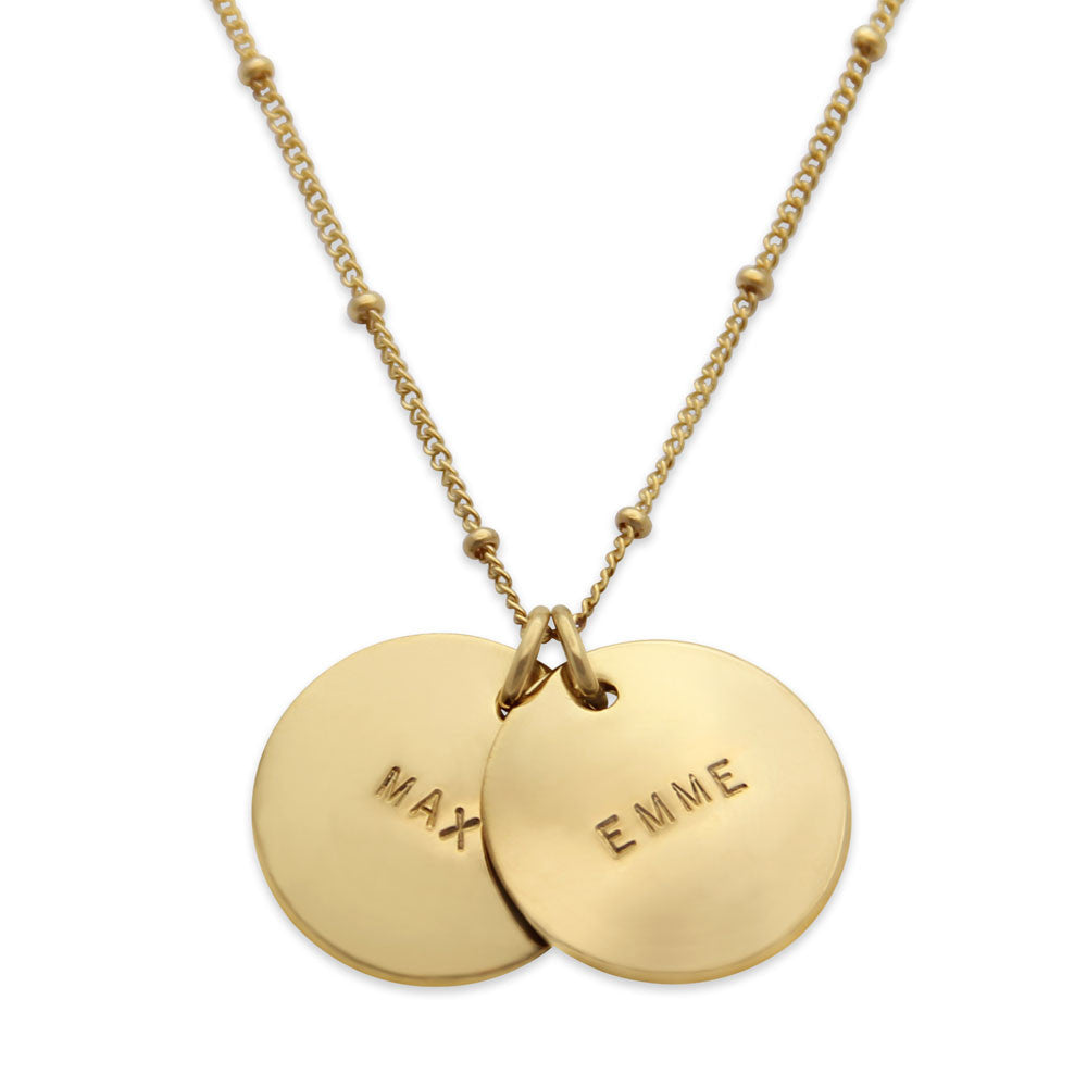 Gold hand stamped name necklace with two pendants proud mama two pendant hand stamped gold name necklace personalized jewelry jenny present proud mozeypictures Gallery
