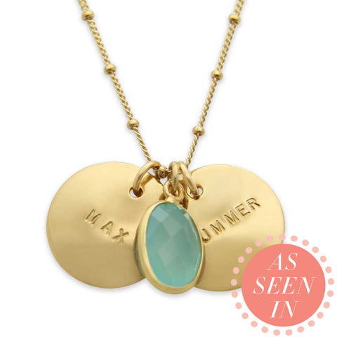 gold hand stamped name necklace with sea green chalcedony stone, personalized jewelry, proud mama®, jenny present®