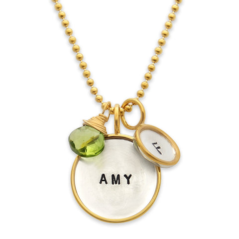 Hand Stamped Name Necklace, Proud Mama®, Mothers Jewelry, Gold Rim Pendant, Jewelry Designer jenny present®