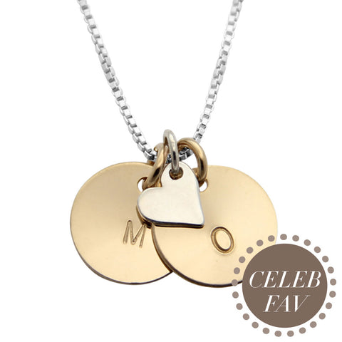 Hand Stamped Celebrity Mothers Initial Necklace with Heart Charm, Proud Mama®