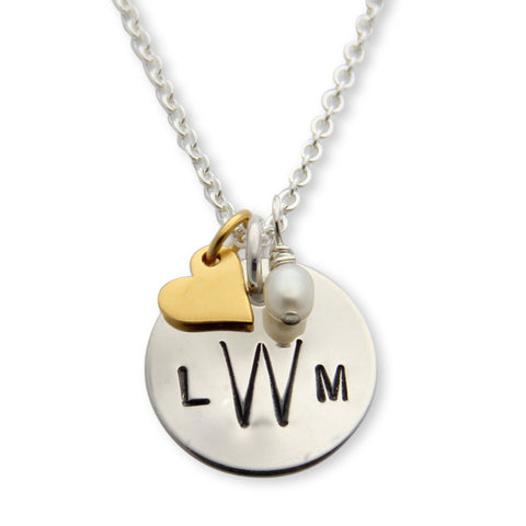 silver hand stamped monogram necklace with tiny charms, proud mama®, jenny present®