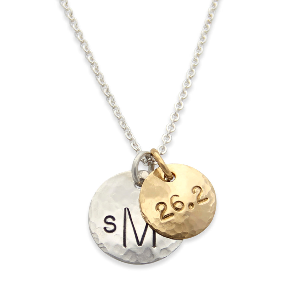 gold and silver hammered monogram necklace, personalized hand stamped jewelry, proud mama® necklace by jenny present®