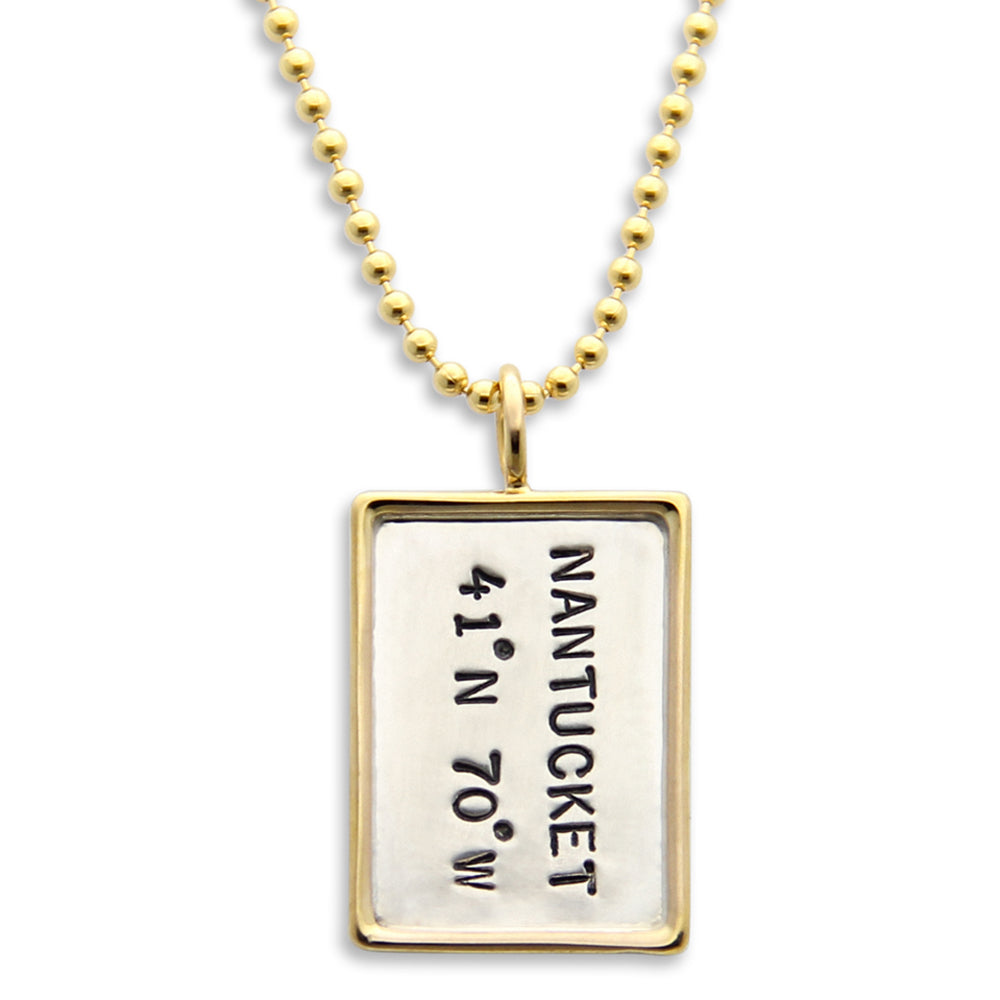 Personalized Gold Rim Coordinates Necklace, Stamped Location Jewelry, Proud Mama®, jewelry designer jenny present®