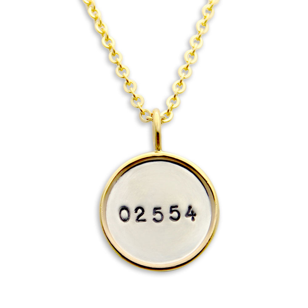 Gold Rim Hand Stamped Zip Code Necklace, Coordinates Jewelry, Proud Mama®, jenny present®