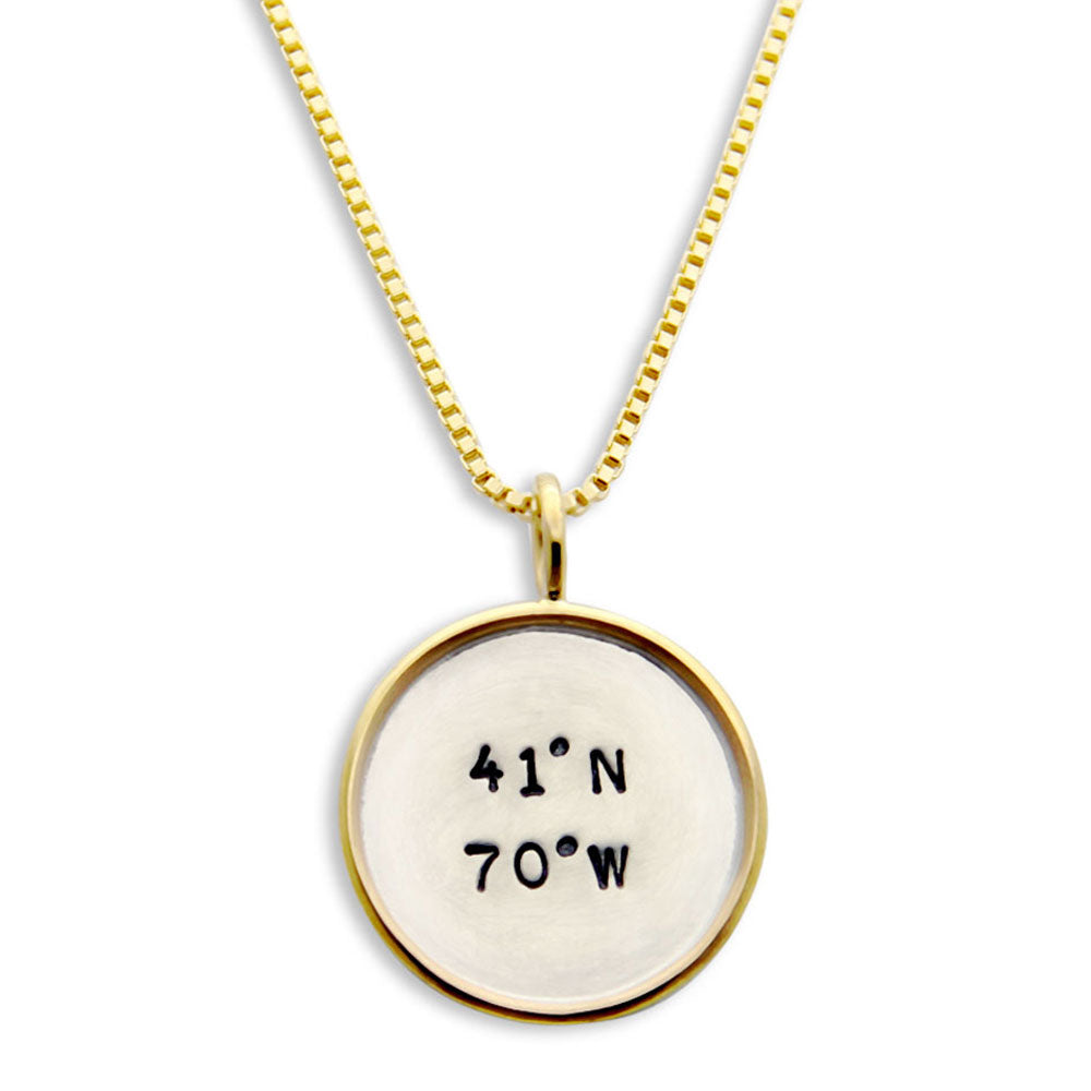 Gold Rim Latitude Longitude Necklace, Hand Stamped Personalized Jewelry, Proud Mama®, jenny present®