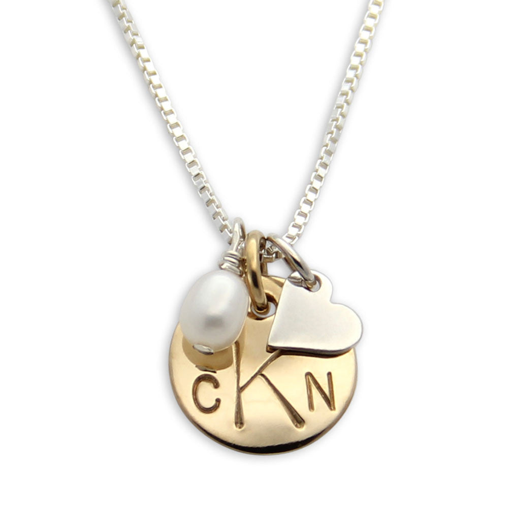 hand stamped monogram charm necklace, mixed metals, personalized jewelry, proud mama®, jenny present®