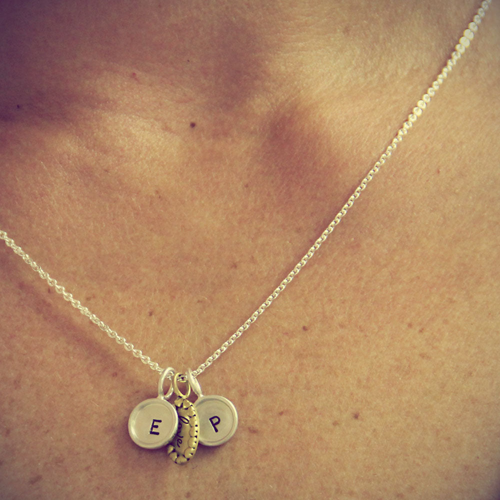 love charm necklace, Hand Stamped Love Initial Necklace, Personalized Jewelry, Proud Mama®