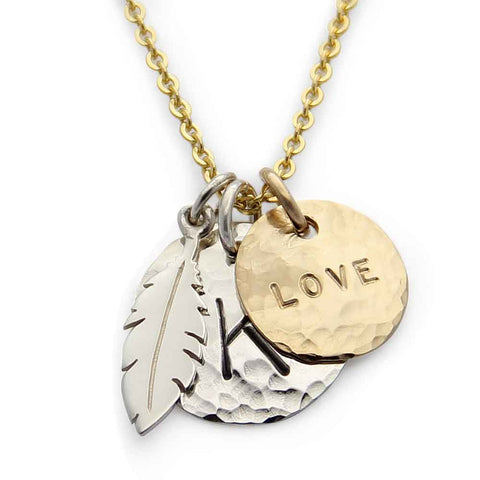 mixed metal personalized hand stamped charm necklace, jenny present®, proud mama®