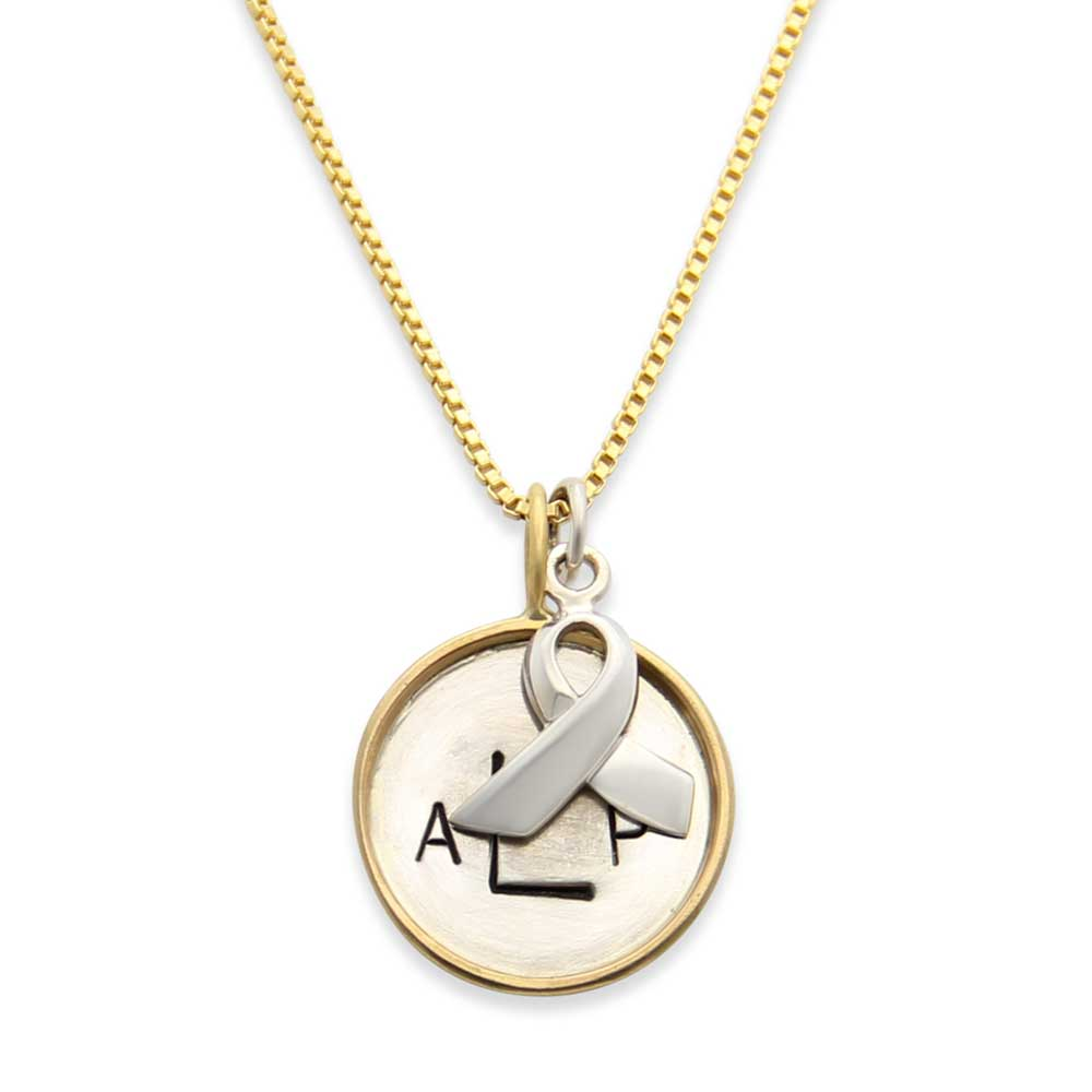 Gold Hand Stamped Monogram Awareness Ribbon Necklace, Proud Mama®, Cancer Awareness Jewelry, jenny present®