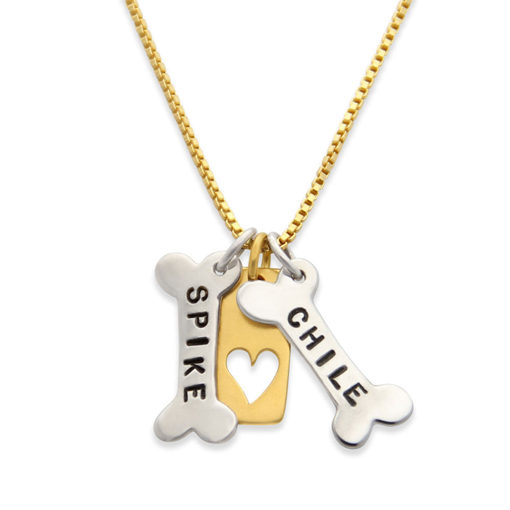 Mixed Metals Dog Lover Necklace, Pet Remembrance Jewelry, In Memory of Dog, Proud Mama®