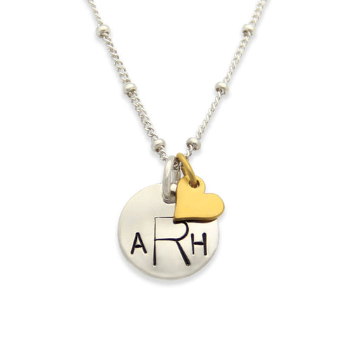 Monogram Petite Heart Charm Necklace, Mixed Metals Jewelry, Hand Stamped Proud Mama®, jenny present®