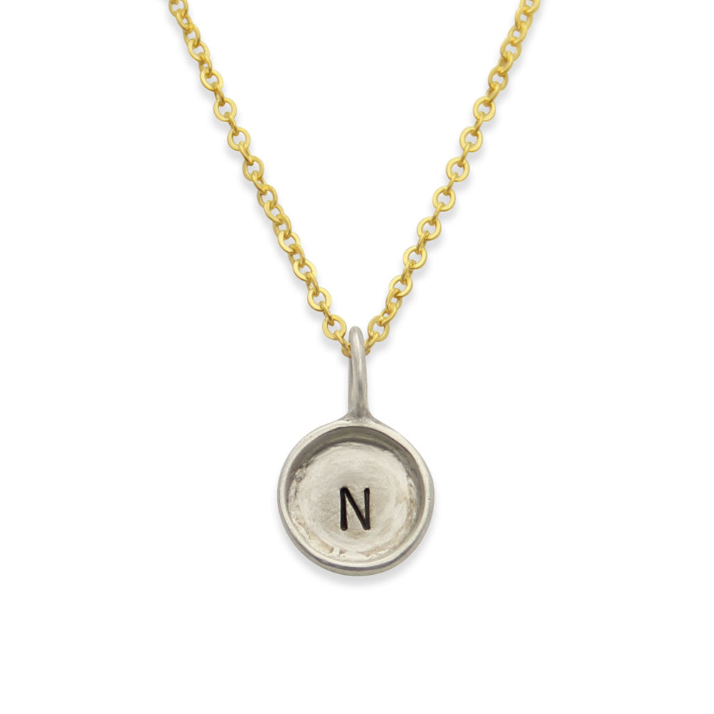 Hand Stamped Mixed Metal Initial Necklace, Mothers Initial Jewelry, Proud Mama®, jenny present®