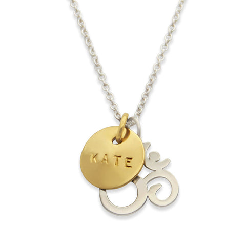 gold and silver namaste ohm necklace, personalized yoga jewelry, jenny present®