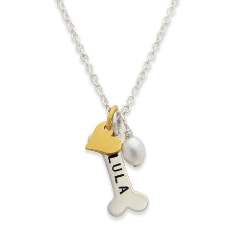 Personalized Hand Stamped Dog Bone Charm Necklace, jewelry for dog lovers, Proud Mama®