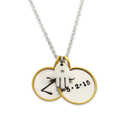 Hand Stamped Gold Rim Necklace with Hamsa Charm, Personalized Protection Jewelry, Proud Mama®, jenny present®