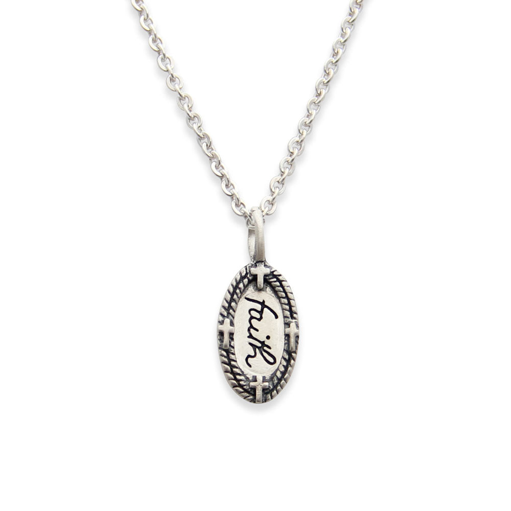 sterling silver faith charm necklace faith jewelry tiny lifenotes