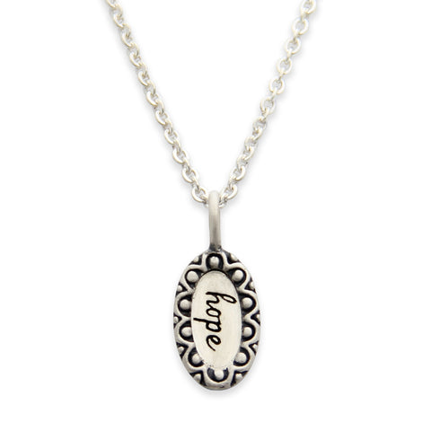 Sterling Silver Hope Charm Necklace, Inspirational Message Jewelry, Tiny LifeNotes®