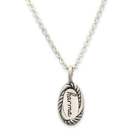 Sterling Silver Karma Charm Necklace, Karma Jewelry, Tiny LifeNotes®