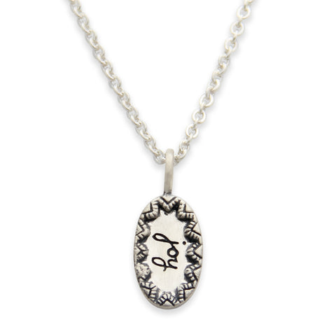 Sterling Silver Joy Charm Necklace, Inspired Message Jewelry, Tiny LifeNotes®