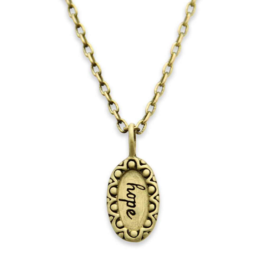 Gold Hope Charm Necklace, Inspirational, Message Jewelry, Tiny LifeNotes®