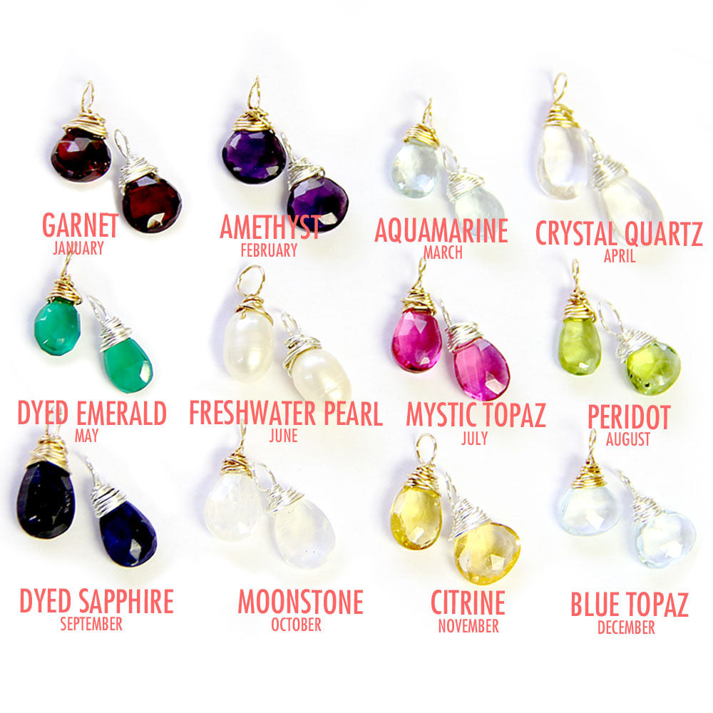 wire wrapped gemstones, birthstone guide, design your own personalized necklace, jenny present® jewelry