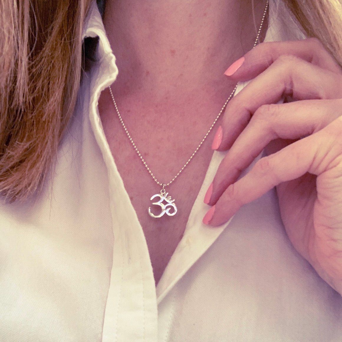 om charm on silver chain necklace, ohm charm, yoga jewelry