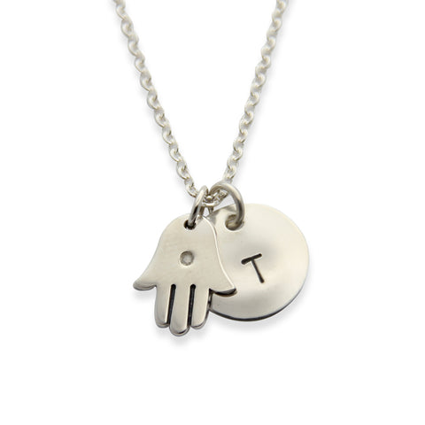 Silver Hamsa Necklace with Hand Stamped Initial Charm, Proud Mama®