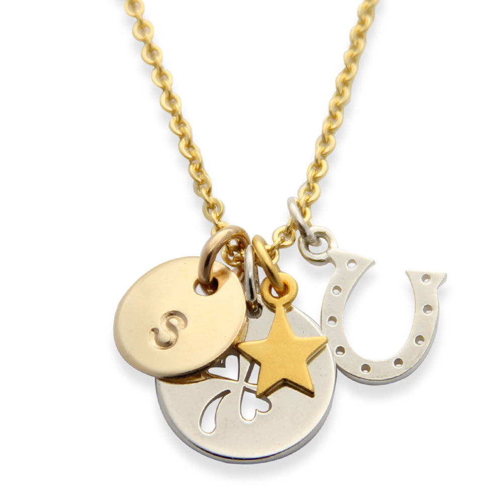 Mixed Metals Good Luck Charm Necklace, Proud Mama®, Lucky Horseshoe Charm, Lucky Clover Charm