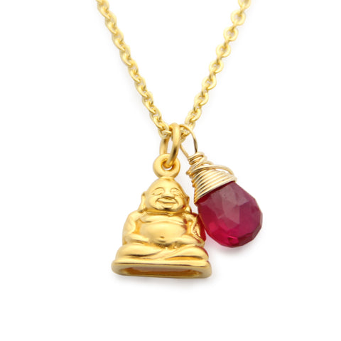 Gold Buddha Charm Necklace with Gemstone, jenny present®
