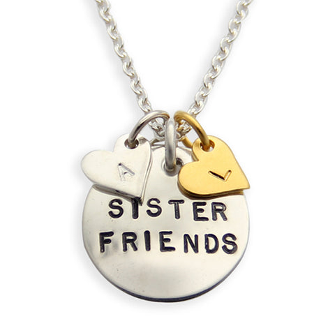Mixed Metals Hand Stamped Best Friend Necklace, Sister Friends, Proud Mama®