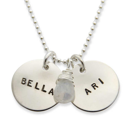 Sterling Silver Hand Stamped Two Pendant Mothers Necklace, Proud Mama®