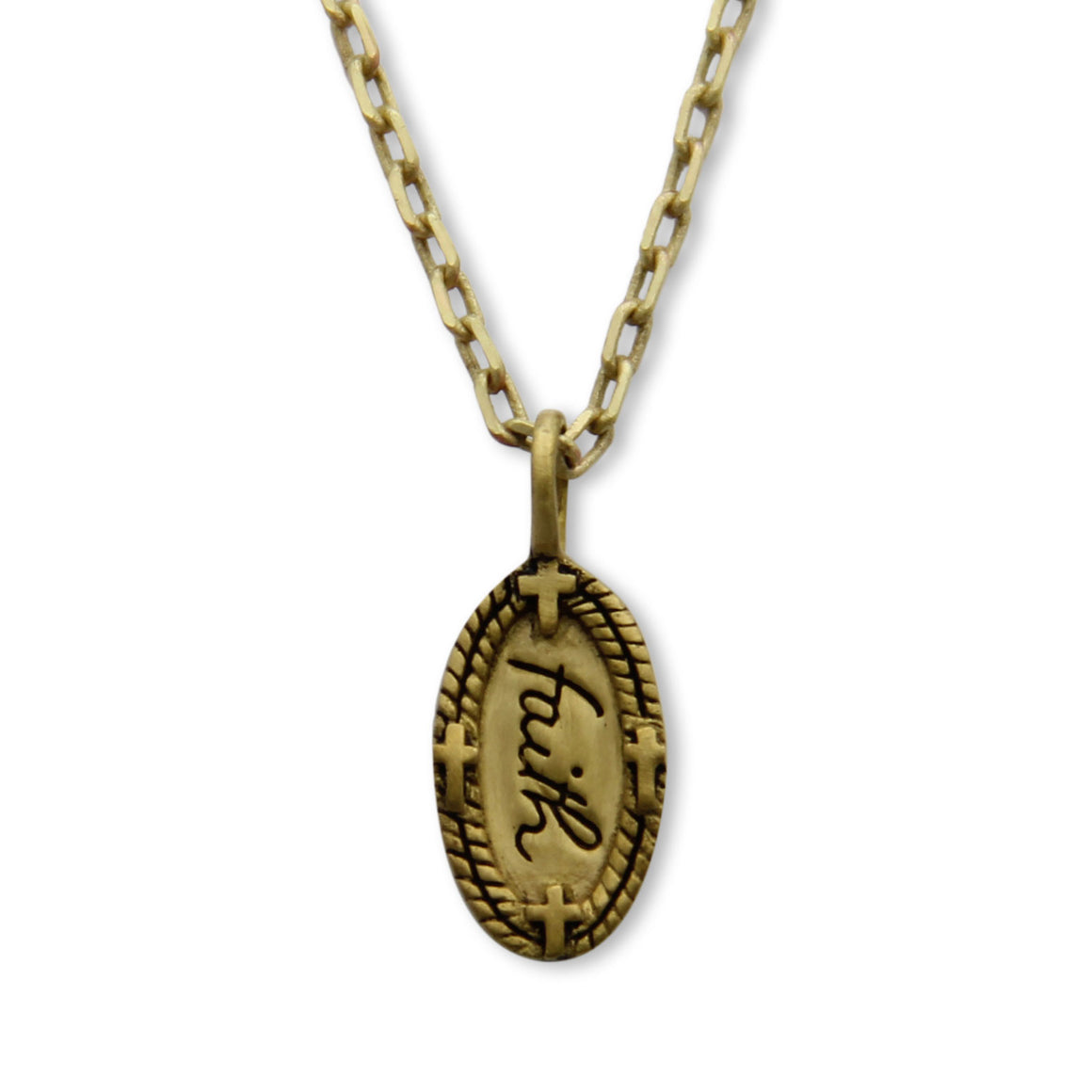 Gold Faith Charm Necklace, Inspirational Message Jewelry, Tiny LifeNotes®