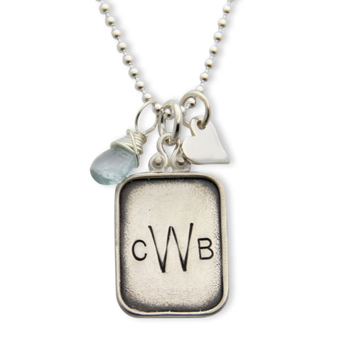 hand stamped sterling silver monogram charm necklace, proud mama®, personalized jewelry, jenny present®
