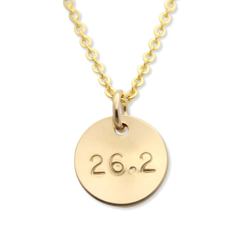 Gold 26.2 Runners Necklace, Hand Stamped Running Jewelry, Mini Medal™