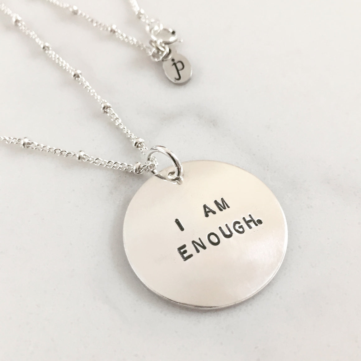 I am enough, inspirational message jewelry, jenny present®