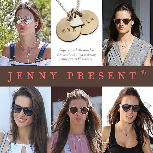 hand stamped mothers necklace as seen on super model Alessandra Ambrosio, celebrity jewelry by jenny present®