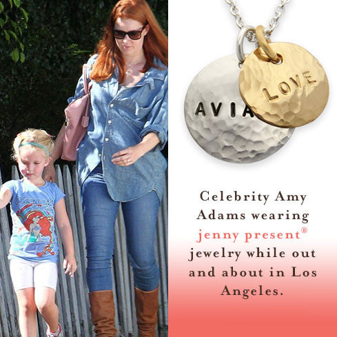 as seen on Amy Adams, gold and silver hammered name necklace, personalized hand stamped jewelry, proud mama® necklace by jenny present®