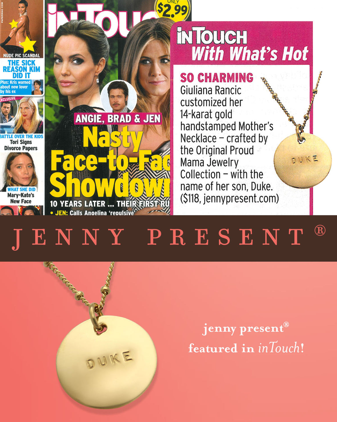 as seen in InTouch Magazine, celebrity jewelry, hand stamped gold personalized name necklace