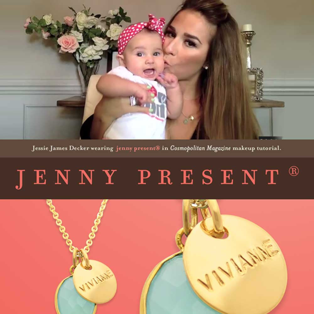 celebrity jewelry by jenny present®, gold name necklace, hand stamped, sea green chalcedony stone
