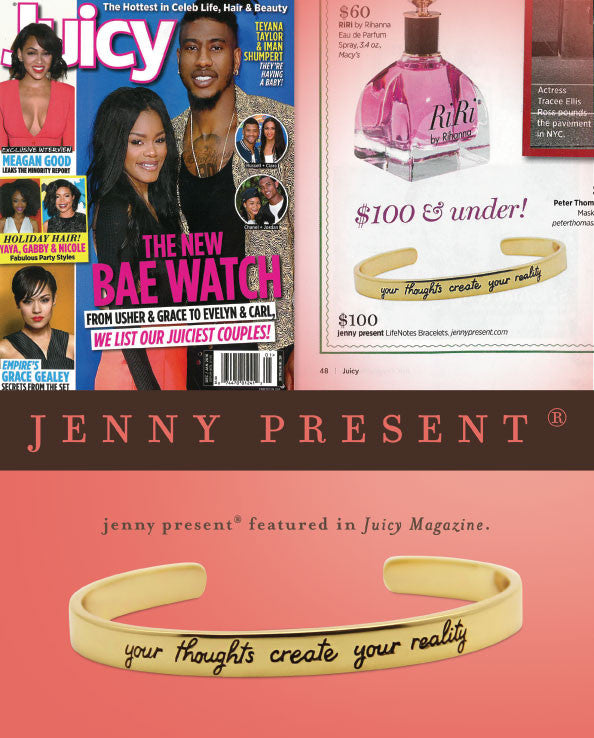 gold motivational cuff bracelet by jenny present®, as seen in Juicy magazine