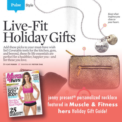 As seen in Muscle and Fitness Hers Holiday Gift Guide, gold and silver hammered name necklace, personalized hand stamped jewelry, proud mama® necklace by jenny present®