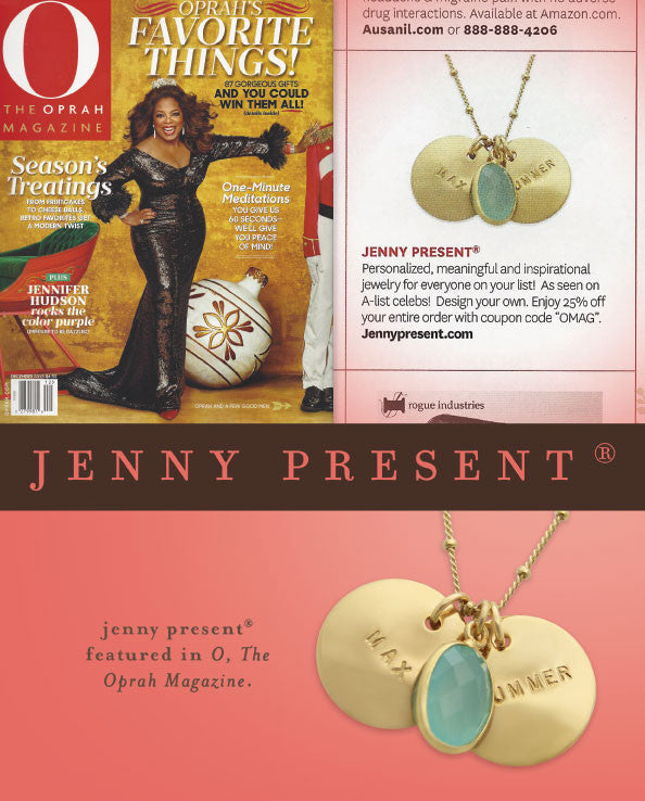 gold hand stamped name necklace with sea green chalecdony stone, personalized jewelry, proud mama®, jenny present® as seen in O, The Oprah Magazine
