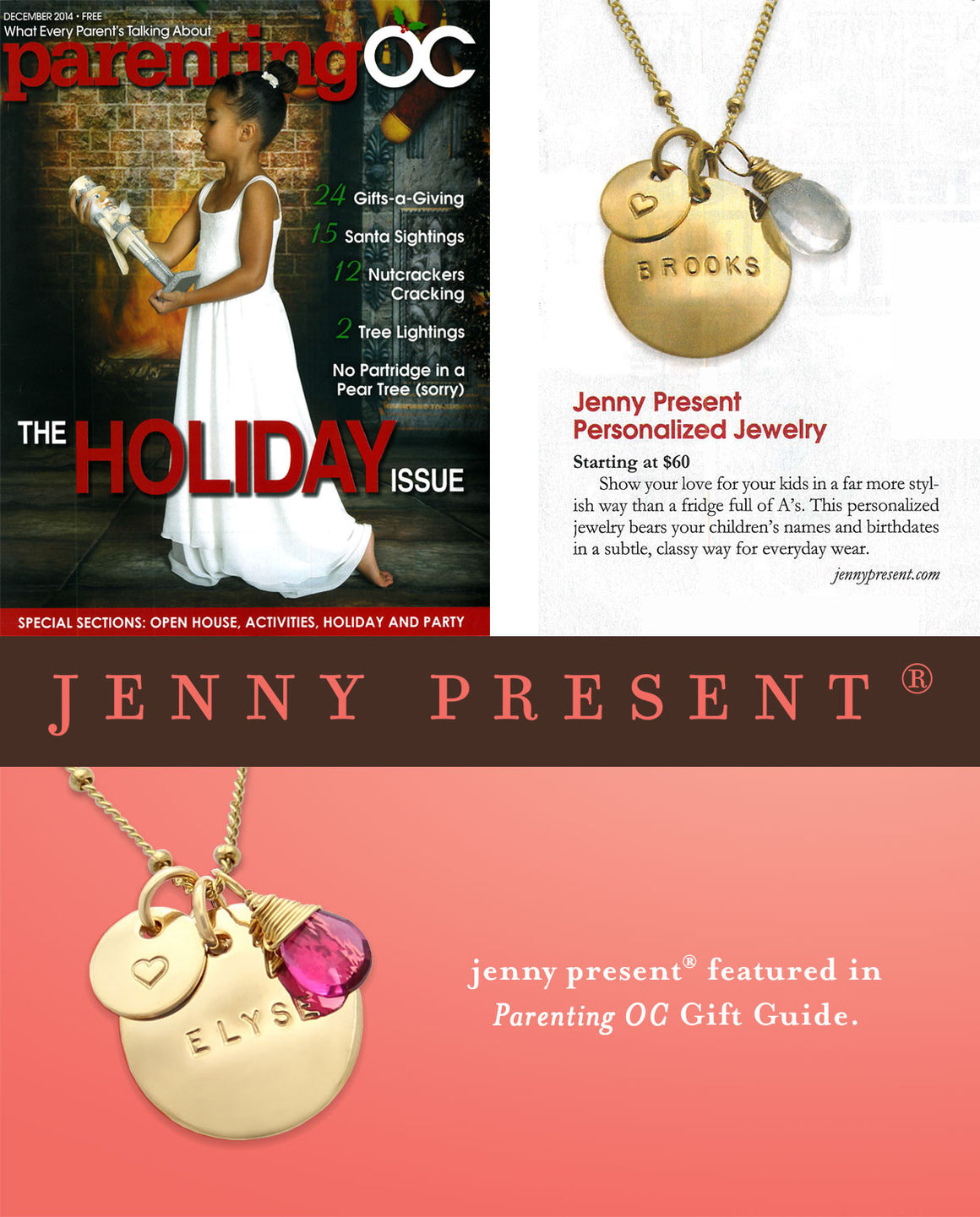 Gold Hand Stamped Necklace with Gemstone, Personalized Jewelry, Proud Mama®, jenny present® as seen in Parenting OC Holiday Gift Guide