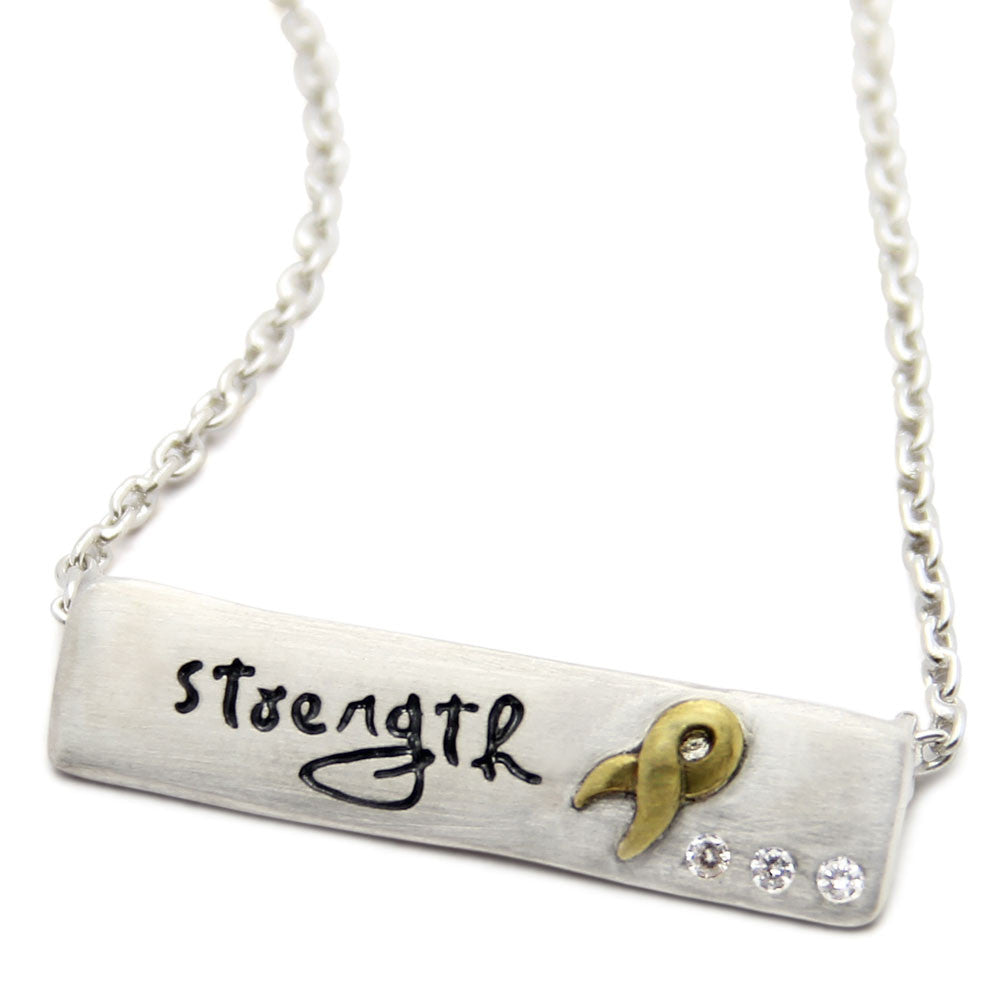 Strength Necklace, Awareness Ribbon Jewelry, jenny present®