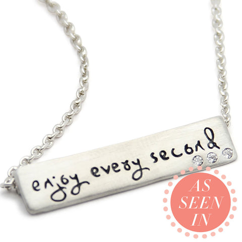 Enjoy Every Second Inspirational Necklace, LifeNotes® Motivational Jewelry, jenny present®