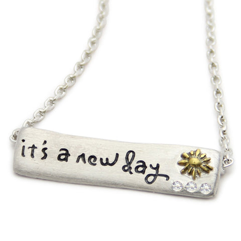 It's A New Day Inspirational Necklace, LifeNotes® Motivational Jewelry, jenny present®
