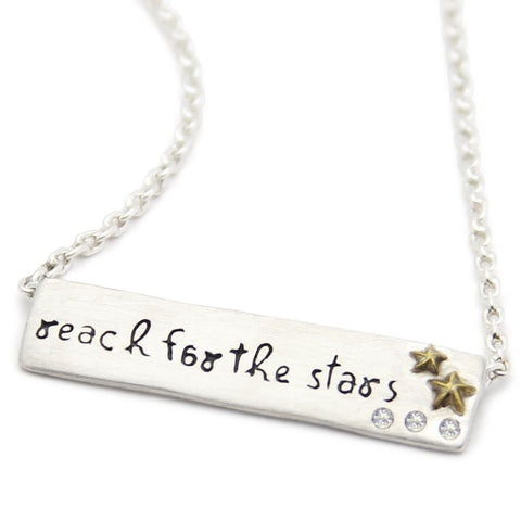 Inspirational message jewelry sentiment necklace motivational necklace reach for the stars inspirational necklace lifenotes motivational jewelry jenny present mozeypictures Choice Image